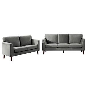 HomeTrend Tolley 2-Piece Grey Velvet Living Room Set (Loveseat and Sofa)
