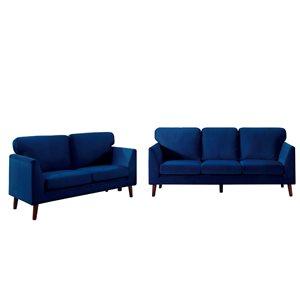 Ensemble de mobilier de salon de 2 pièces Tolley par HomeTrend en velours bleu (canapé et causeuse)
