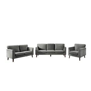 HomeTrend Tolley 3-Piece Grey Velvet Living Room Set