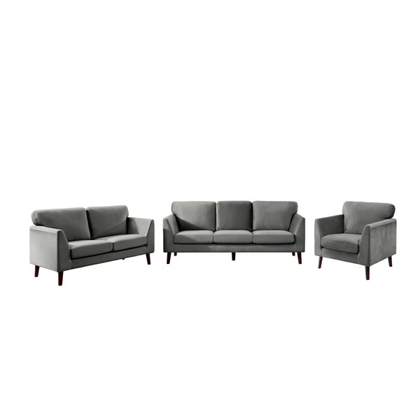 Ensemble de mobilier de salon de 3 pièces Tolley par HomeTrend en velours gris