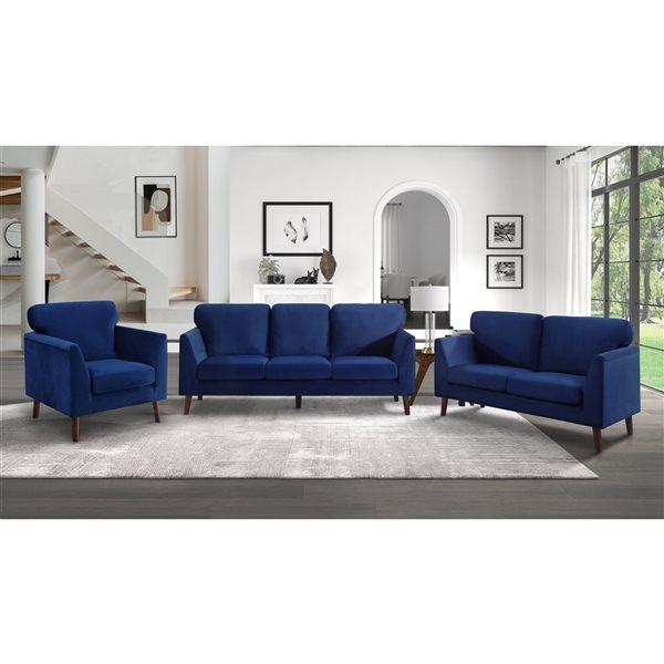Canapé moderne Tolley en velours bleu de HomeTrend