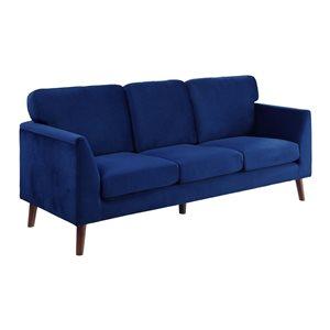 Hometrend Tolley Modern Blue Velvet Sofa