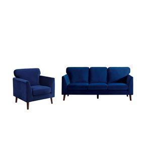 Ensemble de mobilier de salon de 2 pièces Tolley par HomeTrend en velours bleu (canapé et chaise d'appoint)