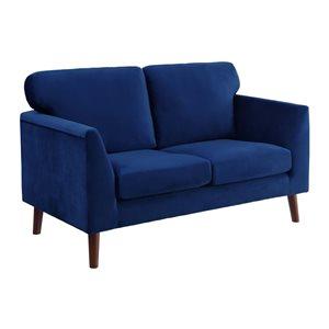 Hometrend Tolley Modern Blue Velvet Loveseat