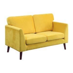 Hometrend Tolley Modern Yellow Velvet Loveseat