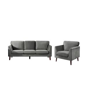 HomeTrend Tolley 2-Piece Grey Velvet Living Room Set (Accent Chair and Sofa)
