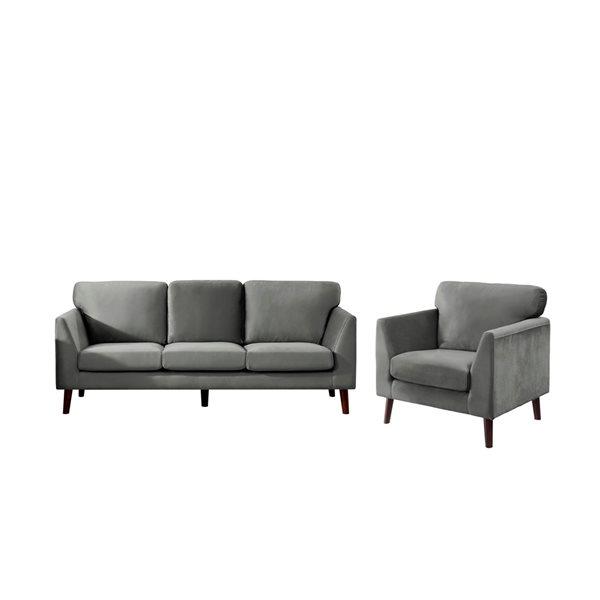 Ensemble de mobilier de salon de 2 pièces Tolley par HomeTrend en velours gris (canapé et chaise d'appoint)
