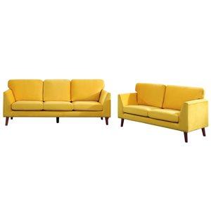 Ensemble de mobilier de salon de 2 pièces Tolley par HomeTrend en velours jaune (canapé et causeuse)