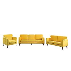 Ensemble de mobilier de salon de 3 pièces Tolley par HomeTrend en velours jaune