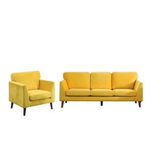 Ensemble de mobilier de salon de 2 pièces Tolley par HomeTrend en velours jaune (canapé et chaise d'appoint)