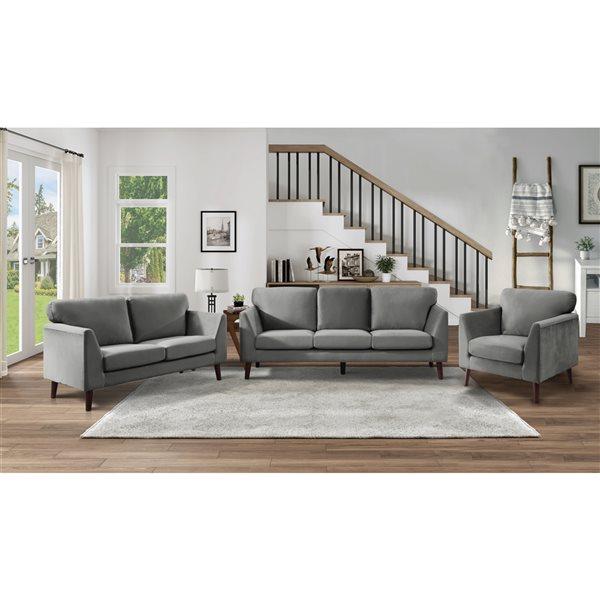 Hometrend Tolley Modern Grey Velvet Loveseat