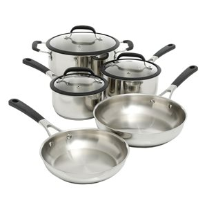 Oster Cuisine Belton 8-Piece Cookware 12.6-in Stainless Steel Cookware Set Lid Included