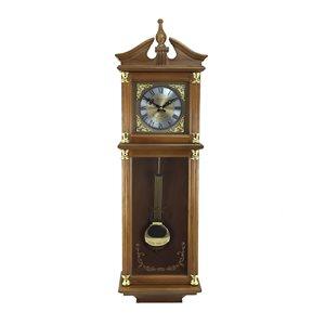 Horloge grand-père murale de 34,5po de la collection Bedford Clock, analogique avec carillons, teinte Harvest Oak