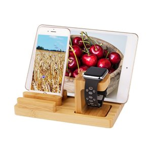 Trexonic Bamboo 4-Port Smart Watch and Charging Stand with 3 Slots and Pen Holder