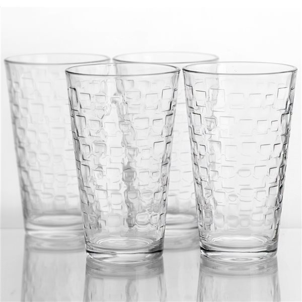 Gibson Home Foundations 4-Piece 16 oz. Tumbler Set, Square Pattern