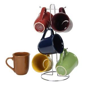 Gibson Home Cafe Amaretto 7-Piece Mug Set with Wire Rack