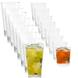 Gibson Home Foundations 16-Piece Tumbler and Double Old Fashioned Glass Set
