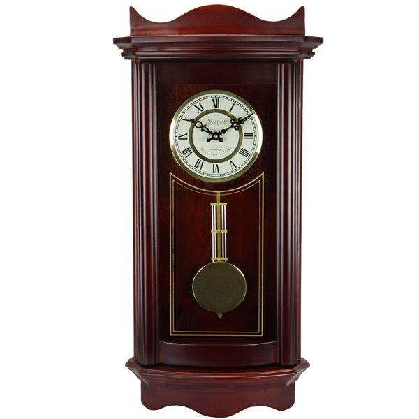Horloge grand-père murale de 25po de la collection Bedford Clock, analogique, fini cerisier patiné