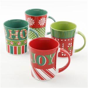 Gibson Home Holiday Wrap 15 oz. Assorted Funky Mug - Set of 4