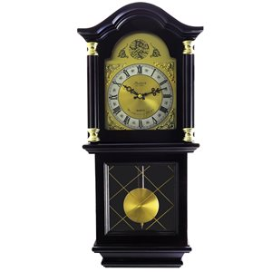 Bedford Clock Collection 26-in Analog Rectangle Wall Grandfather Clock