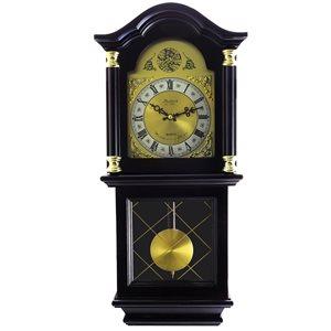 Horloge grand-père murale de 26po de la collection Bedford Clock, analogique avec carillons, teinte Mahogany Cherry Oak