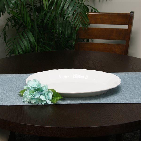 Gibson Home Café Posh Oval Durastone Embossed Tray Platter in White