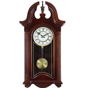 Horloge grand-père murale de 26,5po de la collection Bedford Clock, analogique, style colonial, teinte Mahogany Cherry Oak