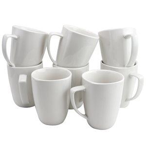 Gibson Home Zen Buffet Ware 12 oz. Square Ceramic Mug Set in White, Set of 8
