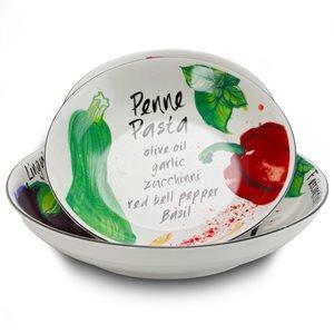 Gibson Home Fruit Orchard Ceramic Pasta Bowl - 5-Piece Set