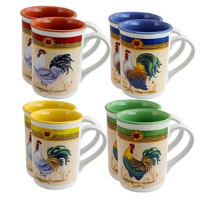 Gibson Home Morning's Call 12 oz Mugs in Assorted Designs - Set of 8