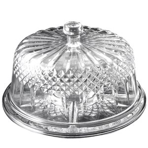 Gibson Home Jewelite Glass Serveware and Cake Plate with Clear Dome - 2-Piece Set