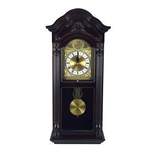 Horloge grand-père murale de 25,5po de la collection Bedford Clock, analogique avec carillons, teinte Mahogany Cherry Oak