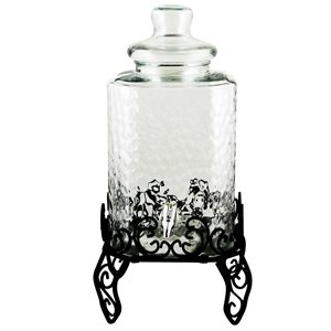 Gibson Home 3-Piece 7.5 L Square Embossed Glass Beverage Dispenser with Stand