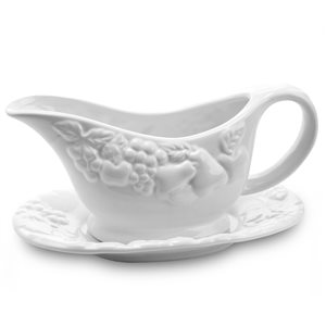 Gibson Home Fruitful Gravy Cup With Saucer in White - 2-Piece Set