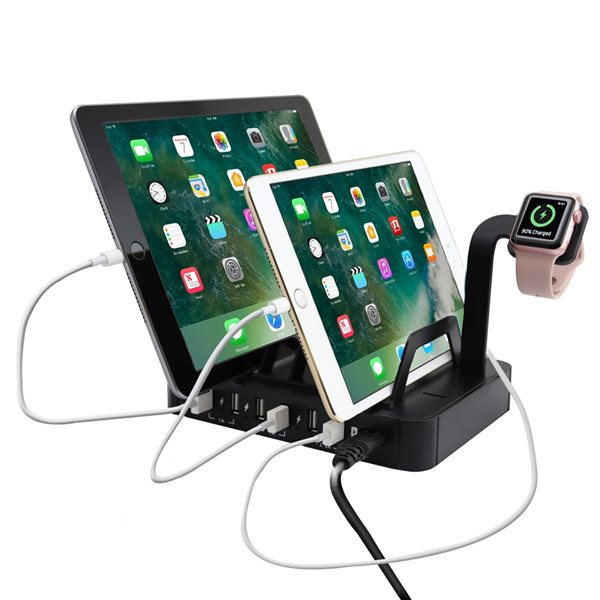 Trexonic 8.8A 6-Port USB Charge Station with 6 Slots and Smart-Watch Stand, Black