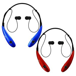 Befree Sound Blue/Red Earbud Headphones with Microphone - 2-Pack