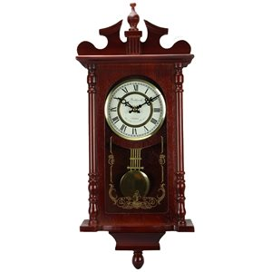 Bedford Clock Collection 25-in Analog Rectangle Wall Grandfather Clock