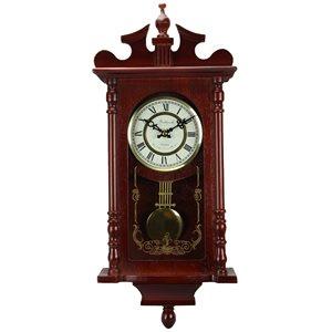 Horloge grand-père murale de 25po de la collection Bedford Clock, analogique, fini séquoia