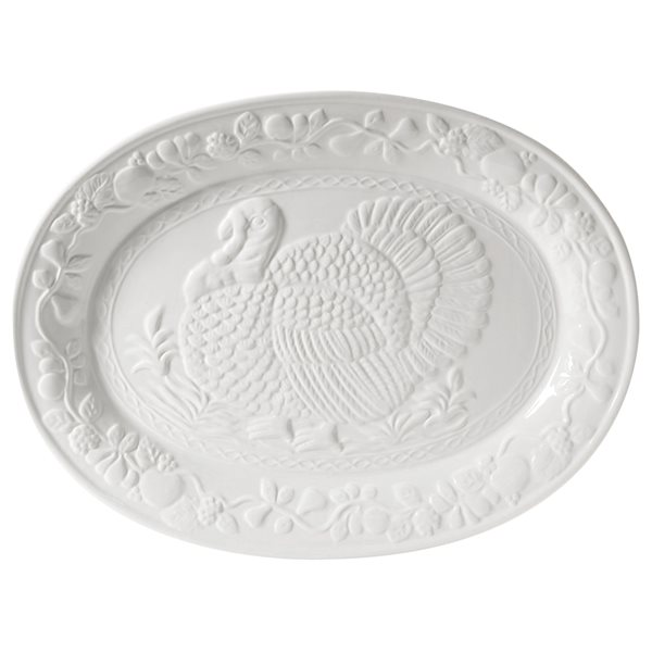 Gibson Home Ceramic Oval Turkey Platter in White
