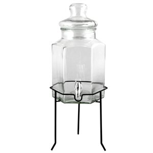 Gibson Home Antiqua Bay Clear Glass 3,79 L Beverage Dispenser with Wire Stand