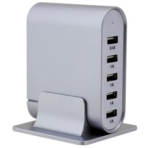 Trexonic 7.1A 5-Port Universal USB Compact Charging Station, Silver