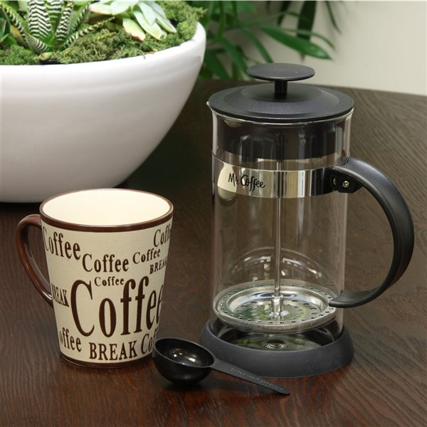 Mr Coffee Oasis 3-Cup Black Residential French Press 2-Piece