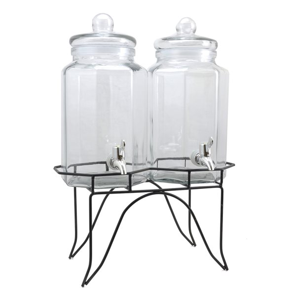 Gibson Home Party Duo Twin 3,79 L Glass Beverage Dispenser with Wire Stand
