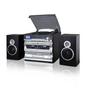 Trexonic 3-Speed Turntable with CD Player, Double Cassette Player, USB Recording