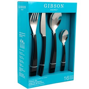 Gibson Home Deco Shine Black Modern Flatware Set - 16-Pack