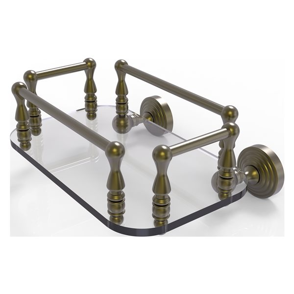 Allied Brass Waverly Place Antique Brass Wall Mount Glass Towel Tray