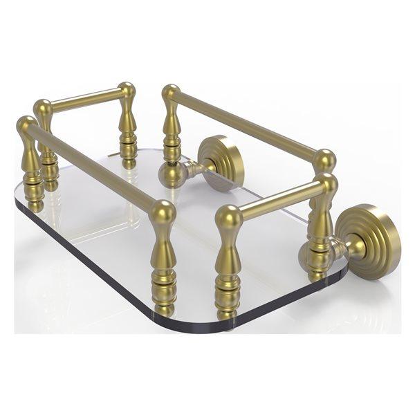 Allied Brass Waverly Place Satin Brass Wall Mount Glass Towel Tray