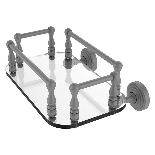 Allied Brass Waverly Place Matte Grey Wall Mount Glass Towel Tray