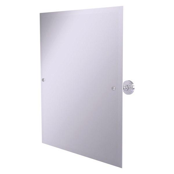 Allied Brass Waverly Place 23.5-in Satin Chrome Rectangular Frameless Bathroom Mirror