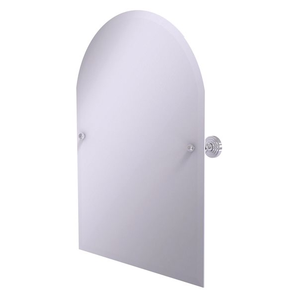 Allied Brass Waverly Place 23.5-in Polished Chrome Arched Frameless Bathroom Mirror